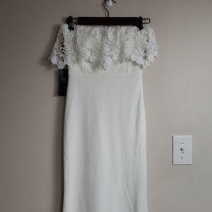 NWT White Lulus Strapless Maxi Dress